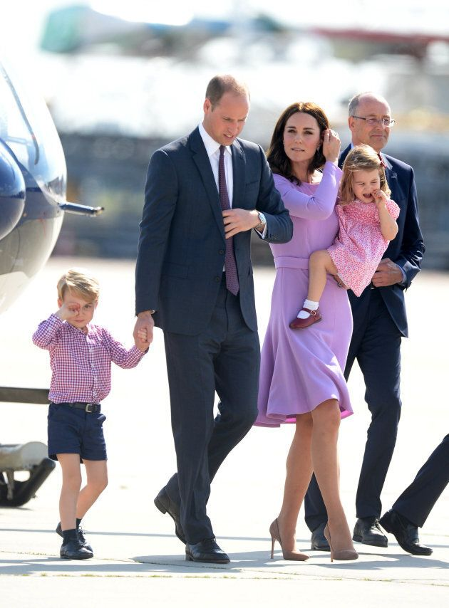 Prince George of Cambridge, Prince William, Duke of Cambridge, Catherine, Duchess of Cambridge and Princess Charlotte of Cambridge depart from Hamburg airport on the last day of their official visit to Poland and Germany on July 21, 2017 in Hamburg, Germany. (Photo by Pool/Samir Hussein/WireImage)