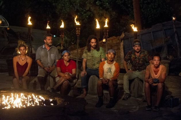 Andrea Boehlke, Jeff Varner, Sandra Diaz-Twine, Oscar 'Ozzy' Lusth, Tai Trang, Zeke Smith and Sarah Lacina at Tribal Council on the sixth episode of SURVIVOR: Game Changers.