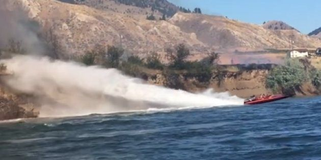 Koyne Watson and Tasha Hunt used their jet boat to try and put out a grass fire east of Kamloops,