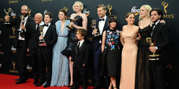 The 'Game of Thrones' cast poses in the press room after winning Best Drama Series the 68th annual Primetime...