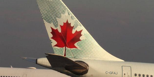 The tail end of an Air Canada airplane is seen at Toronto Pearson International Airport in Toronto, Canada...