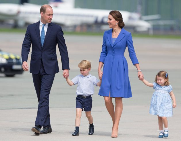 Prince William, Duke of Cambridge and Catherine Duchess of Cambridge with their chlidren in Warsaw, Poland in July. (Photo by Mateusz Wlodarczyk/NurPhoto via Getty Images)