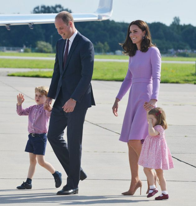 Prince George, Duke of Cambridge, Duchess of Cambridge and Princess Charlotte on the last day of their official visit to Poland and Germany. (Photo by Pool/Samir Hussein/WireImage)