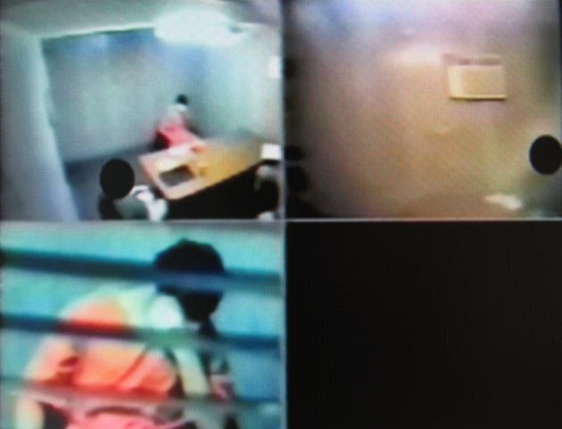 Video still showing Omar Khadr being interviewed by CSIS agents at Guantanamo Bay in February, 2003, at the age of 16.