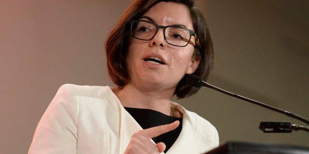 Niki Ashton speaks at the first debate of the federal NDP leadership race in Ottawa on March 12,
