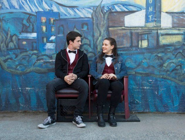 Clay Jensen and Hannah Baker, played by Dylan Minnette and Katherine Langford.