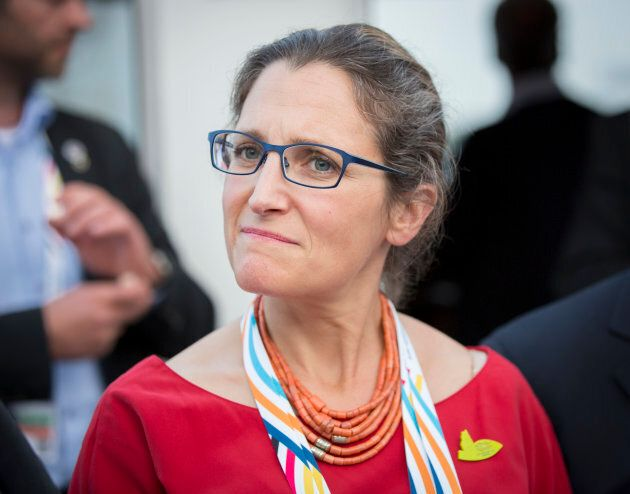 Chrystia Freeland, Canada's foreign affairs minister, joins the G 20 summit on July 7, 2017 in Hamburg,