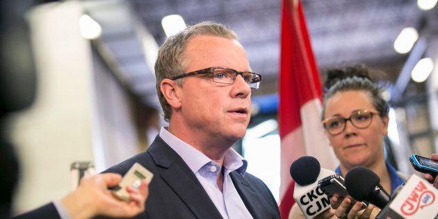 Saskatchewan Premier Brad Wall talks about highway infrastructure improvements and new funding from the federal government in Saskatoon, Saskatchewan March 12, 2015.