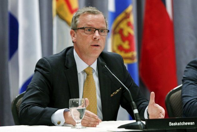 Saskatchewan Premier Brad Wall speaks during a news conference after the Quebec Summit On Climate Changes, April 14, 2015.