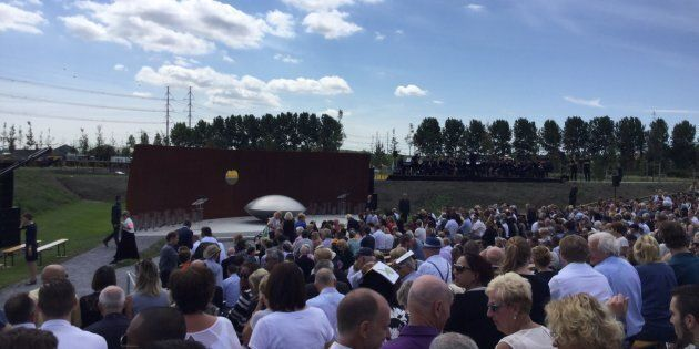 About 2,000 relatives of the victims of MH17 gathered near Amsterdam Airport on July 17, 2017 to remember...