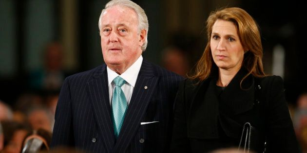 Former Canadian Prime Minister Brian Mulroney and his daughter Caroline Mulroney Lapham arrive for the...