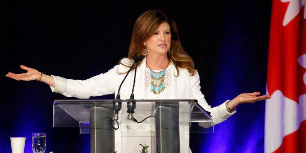 Conservative leader Rona Ambrose addresses supporters at the Calgary Stampede BBQ in Calgary on July...
