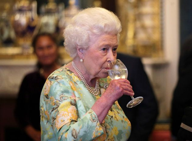 Queen Elizabeth II attends a reception for the winners of The Queen's Awards for Enterprise 2017 at Buckingham Palace. (YUI MOK/AFP/Getty Images)
