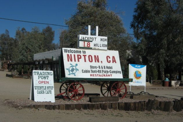 A sign outside Nipton's general store.