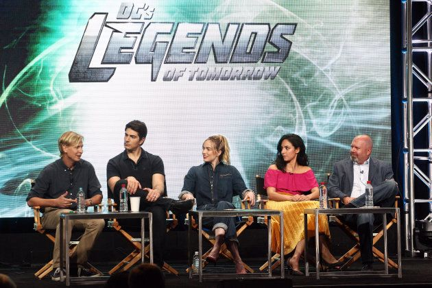 Phil Klemmer, Brandon Routh, Caity Lotz, Tala Ashe and Marc Guggenheim attend the 2017 Summer Television Critics Association Tour at the Beverly Hilton Hotel on Wednesday in Beverly Hills, California.