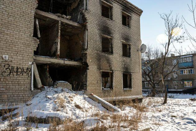 A file image of a destroyed apartment block in a Ukrainian-controlled town in the suburbs of