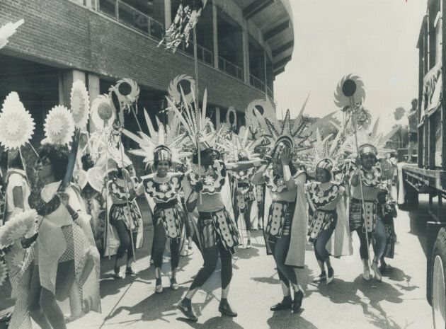Kicking off Caribana 71 in Toronto, from Varsity Stadium to the ferry piers. (Photo by Jeff Goode/Toronto...