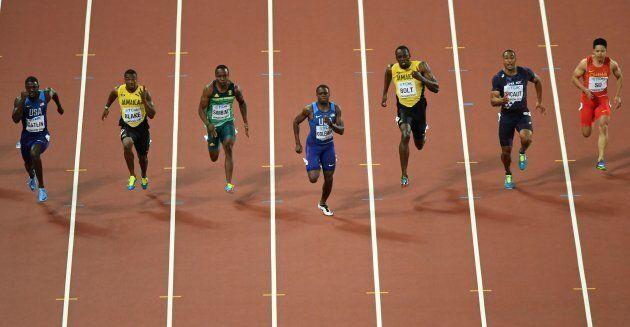 (From R) China's Su Bingtian, France's Jimmy Vicaut, Jamaica's Usain Bolt, US athlete Christian Coleman,...