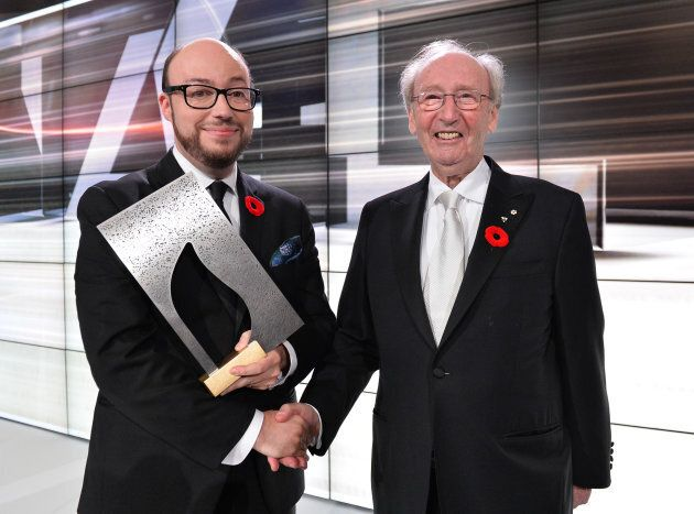 Author Sean Michael and founder Jack Rabinovitch pose with the winning prize at the Scotiabank Giller Prize  on November 10, 2014 in Toronto, Canada.  (PHOTO: George Pimentel/WireImage)