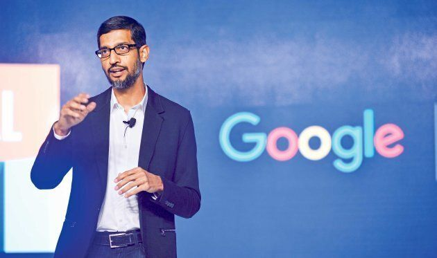 Google CEO Sundar Pichai speaks during Digital Unlocked Google event at Taj palace on January 4, 2017...