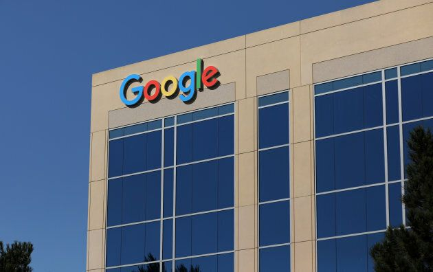 The Google logo is pictured atop an office building in Irvine, California, U.S. August 7,