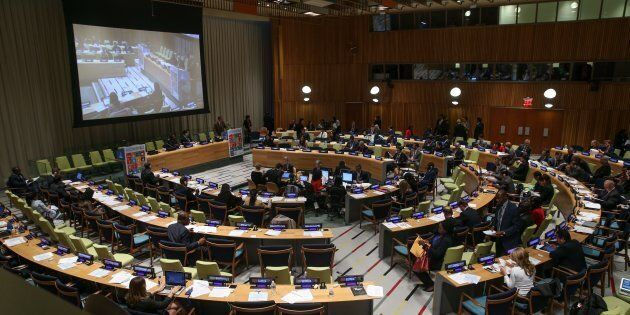 A general view of the meeting of Sustainable Development goals at United Nations (UN) headquarters in...