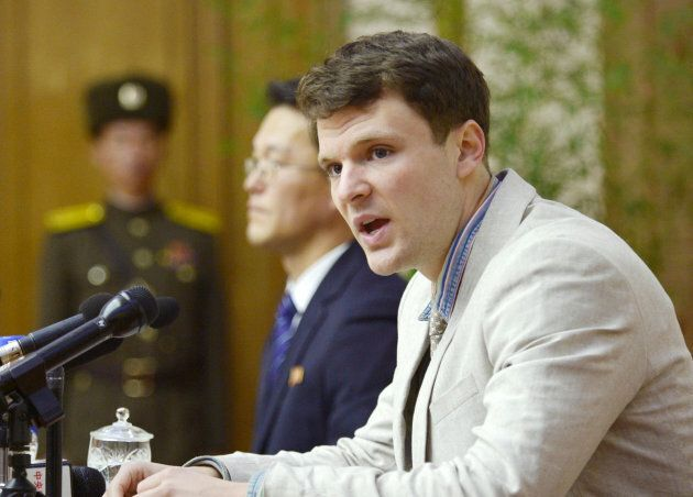 Otto Frederick Warmbier attends a news conference in Pyongyang in this photo released by Kyodo on Feb....