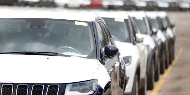 Chrysler cars are lined up in preparation for delivery outside Chrysler's plant in Toluca near Mexico...