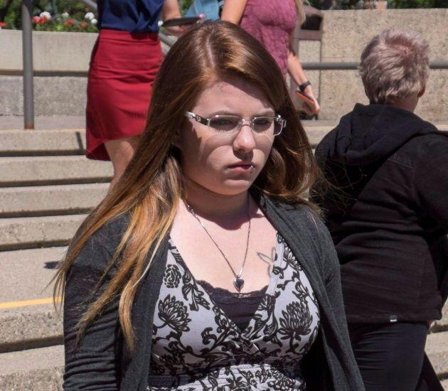 Cheyenne Dunbar, mother of Hailey Dunbar-Blanchette, leaves the trial of Derek Saretzky in Lethbridge,...