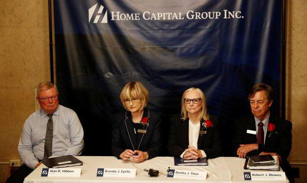 Home Capital independent director Alan Hibben (left), Chair of the Board Brenda Epriles (2nd left), interim...