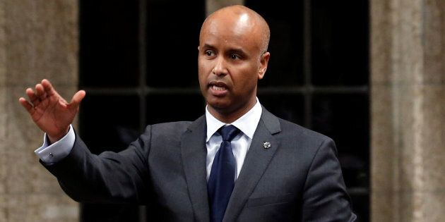 Immigration Minister Ahmed Hussen speaks during Question Period in the House of Commons on Parliament...
