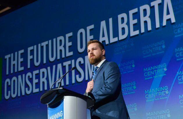 Derek Fildebrandt shares remarks during the Manning Centre Conference in Ottawa on Saturday, February...