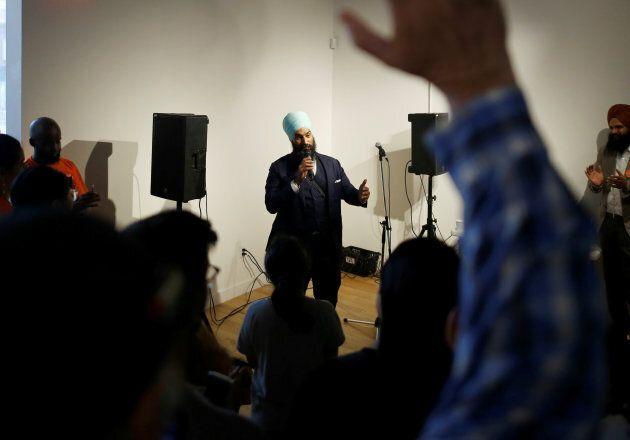 New Democratic Party federal leadership candidate Jagmeet Singh speaks a meet and greet event in Hamilton, Ont., July 17, 2017.