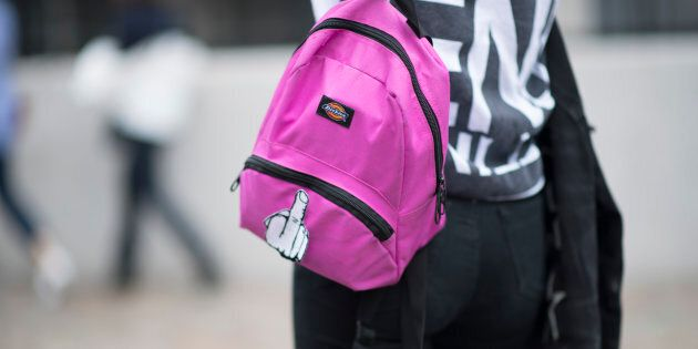 A woman wears a backpack in London on Sept.18,