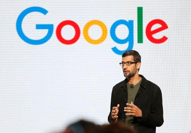 Google CEO Sundar Pichai speaks during the presentation of new Google hardware in San Francisco, California,...