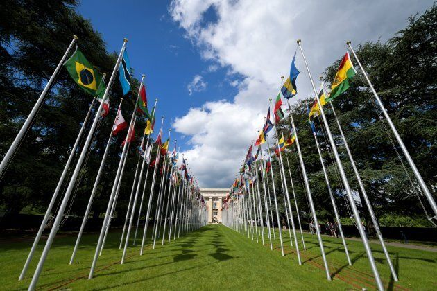 The flags avenue at the United Nations (UN) offices in Geneva.