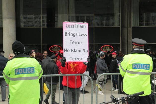 Rally against Islam, Muslims, and Sharia Law in downtown Toronto, Ont., on May 06,