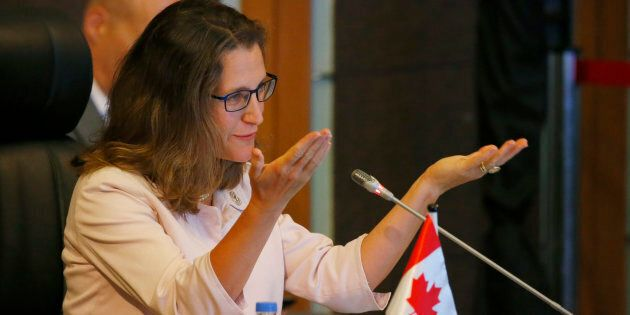 Foreign Affairs Minister Chrystia Freeland gestures as she delivers her statement at the ASEAN-Canada...