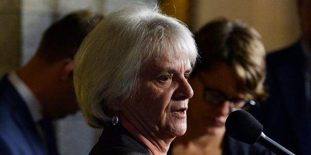 NDP MP Helene Laverdiere talks with media in Ottawa on Wednesday, Sept. 28,