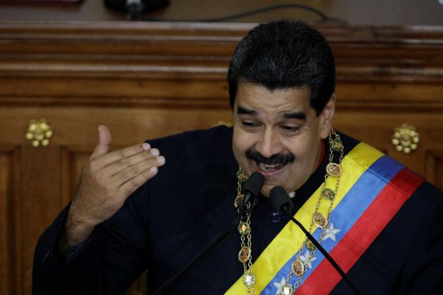 Venezuela's President Nicolas Maduro gestures as he speaks during a session of the National Constituent...
