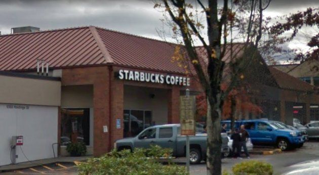The alleged punch took place in this Starbucks in Burnaby,