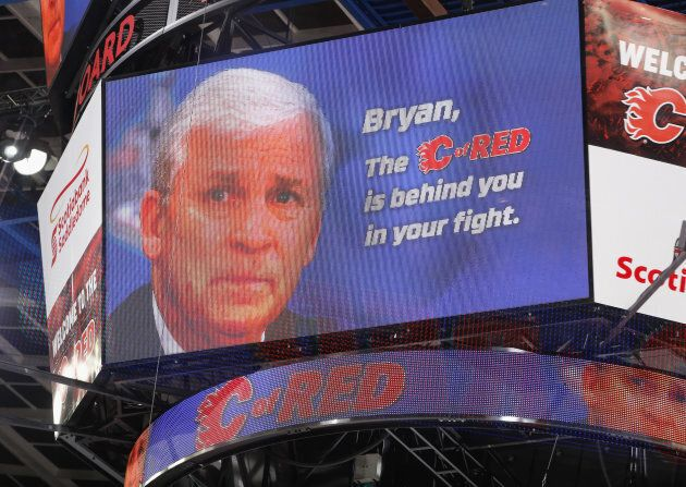 A tribute to Bryan Murray during a stop in play against the Calgary Flames and the Ottawa Senators at...