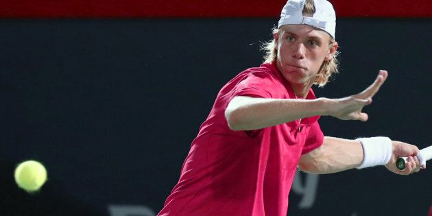Denis Shapovalov of Canada hits a shot against Alexander Zverev of Germany (not pictured) during the...