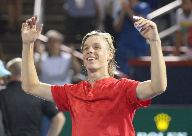 Denis Shapovalov waves to the crowd as he wins against Adrian Mannarino of France (not pictured) during...