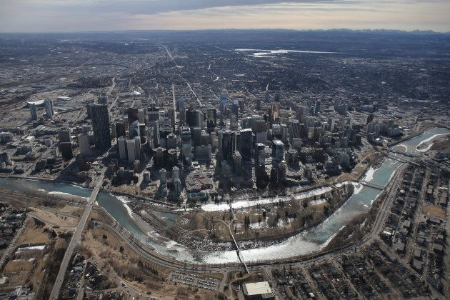 An aerial view of Calgary, the commercial centre of Canada's oil industry. Alberta has seen high unemployment...