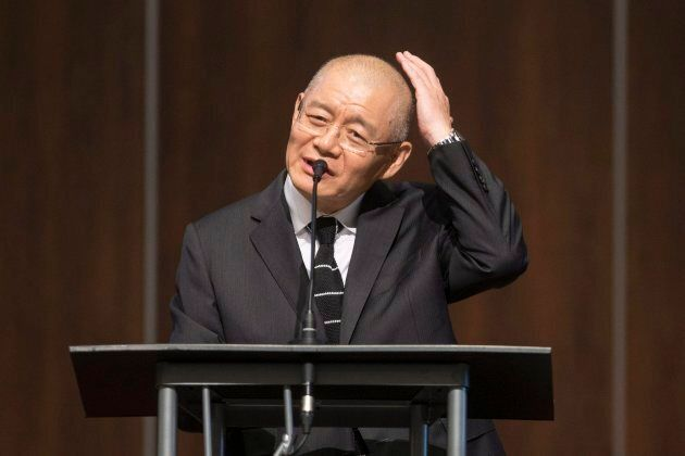 Canadian pastor Hyeon Soo Lim speaks to the congregation during a service at the Light Presbyterian Church...