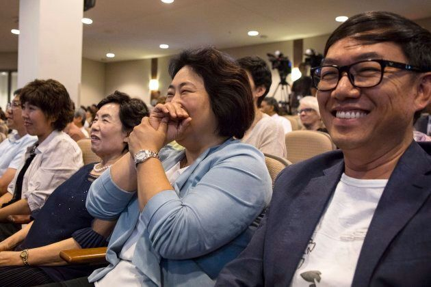 Members of the congregation listen to pastor Hyeon Soo Lim speak during a service at the Light Presbyterian...