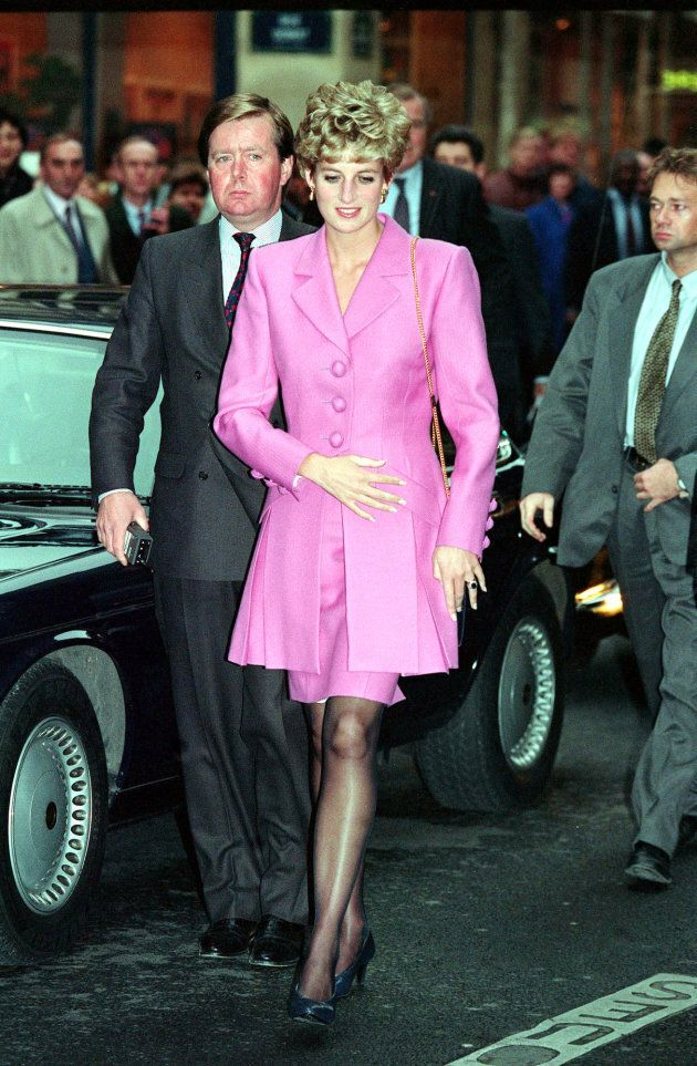 The Princess of Wales arriving at an AIDS Information kiosk in the Latin quarter of Paris.