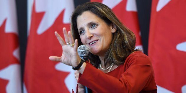 Foreign Affairs Minister Chrystia Freeland discusses modernizing NAFTA at a public forum at the University...