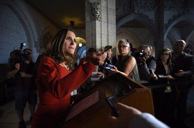 Foreign Affairs Minister Chrystia Freeland holds a press conference on Parliament Hill in Ottawa on Aug....